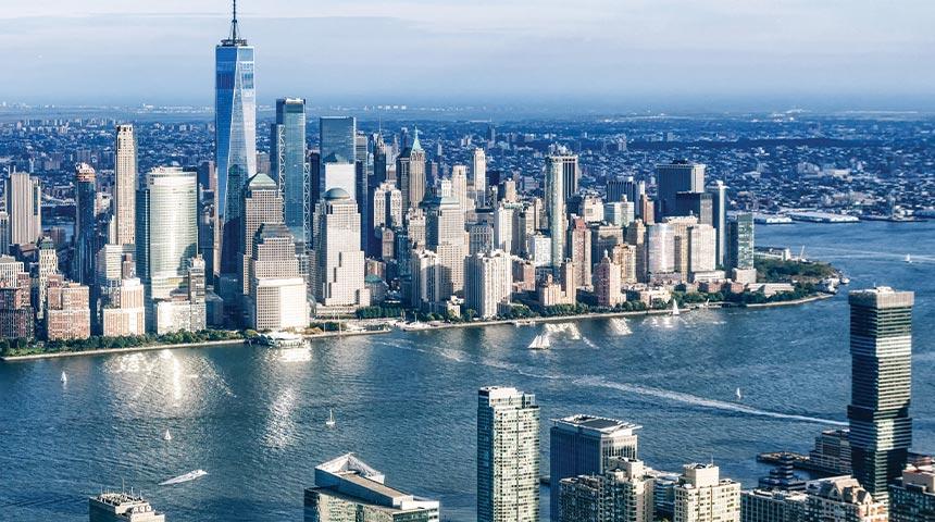 Ny and NJ skyline with Hudson River